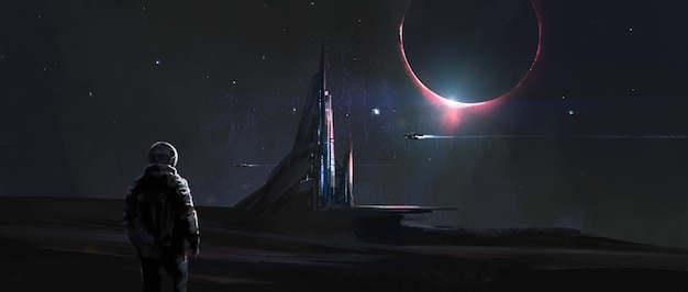 외계 행성, 3d 그림에 웅장한 건물.