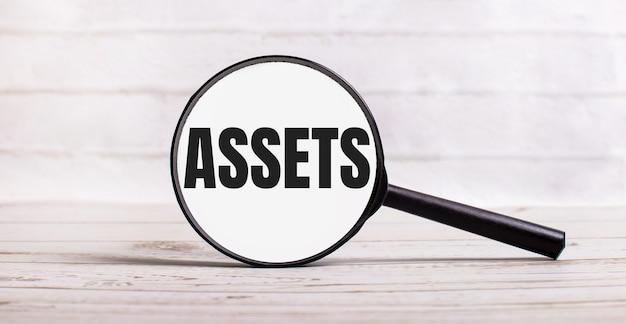 돋보기는 assets라는 텍스트가 있는 밝은 배경에 수직으로 서 있습니다.
