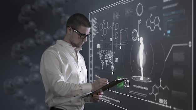 홀로그램이있는 남자와 과학자 패널