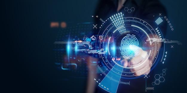 Мужчина получает доступ к личной информации голограмм с идентификацией по отпечатку пальца. современные технологии.