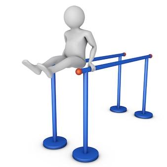 男は不均等なバーで身体運動をしています。