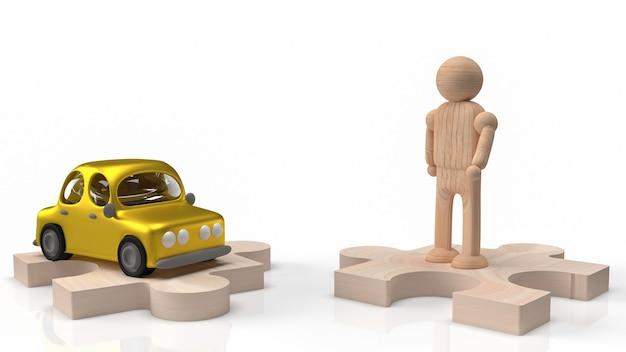 Деревянная фигура человека и автомобильная игрушка на головоломке для 3d-рендеринга автомобиля или транспорта