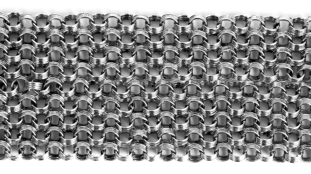 白い背景の上の銀の鎖の多くの範囲