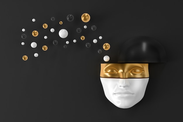 폭발하는 기하학적 모양이 서로 다른 방향으로 날아가는 벽에 걸린 여성의 머리 마스크. 3d 일러스트레이션