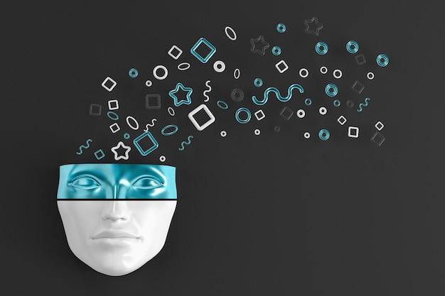 폭발하는 기하학적 모양이 다른 방향으로 날아가는 벽에 여자의 머리 마스크