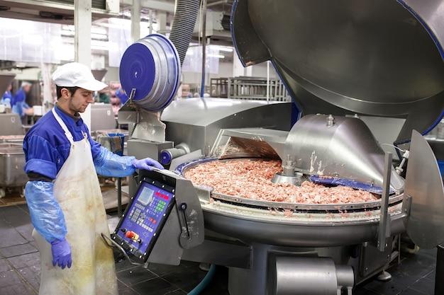 グラインダーの肉。食肉産業。