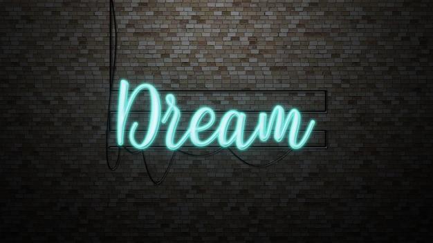 レンガの壁にネオンの光を当てたメッセージの夢