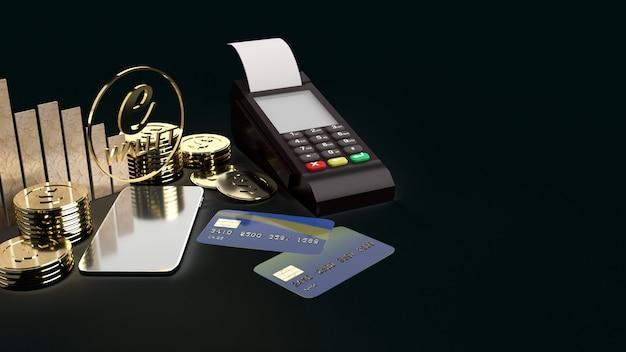 モバイルシンボルe財布とゴールドコインeビジネスコンセプトの3 dレンダリング。