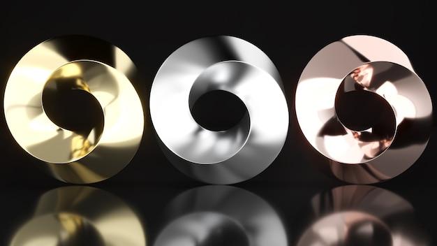 뫼비우스 스트립 모양은 금, 은 및 구리 재료를 사용합니다. 뫼비우스 스트라이프 패턴, 3d 렌더링