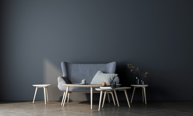 현대적인 인테리어와 파란색 벽 배경, 최소한의 거실에서 가구 디자인을 모의합니다.