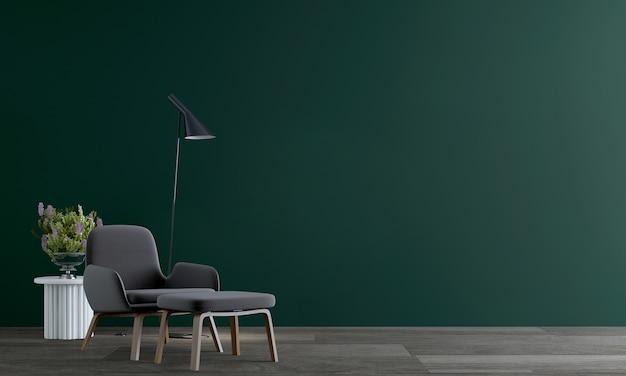 현대적인 인테리어와 녹색 벽 배경, 아늑한 거실의 가구 디자인 모의