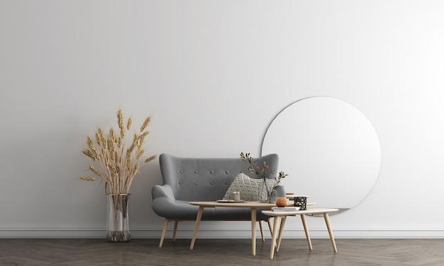 Макет дизайна мебели на фоне современного интерьера, уютная гостиная, скандинавский стиль, 3d визуализация, 3d иллюстрации