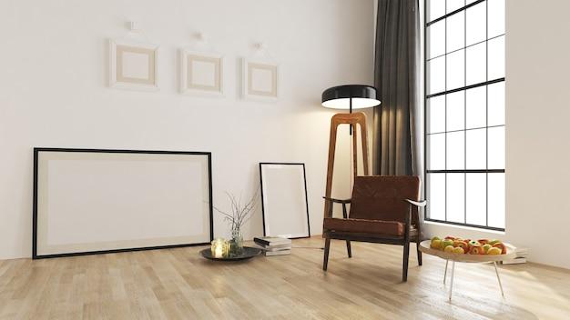 モダンなインテリアの背景、居心地の良いリビングルームのモックアップ家具デザイン
