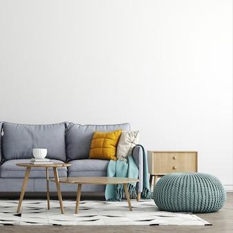 현대적인 인테리어 배경, 거실, 스칸디나비아 스타일, 3d 렌더링, 3d 일러스트에서 가구 디자인을 모의