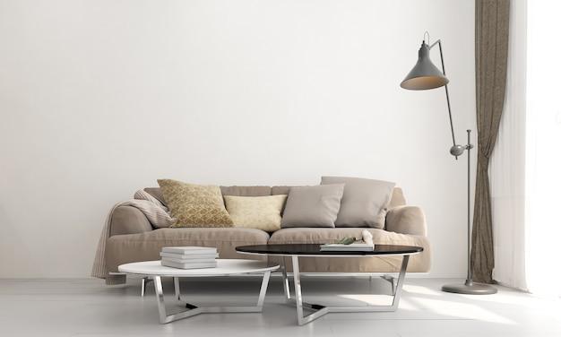 モダンなレトロなインテリアの背景、居心地の良いリビングルームのモックアップ家具デザイン