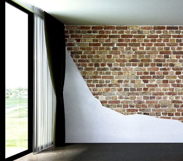 ロフトと空のリビングルームとレンガの壁の背景のモックアップインテリアデザインの装飾