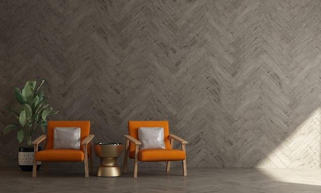 Макет интерьера комнаты со стулом и деревянной стеной фон