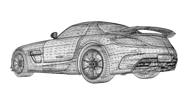 Модель спортивного купе премиум-класса с черной многоугольной треугольной сеткой на белом фоне.