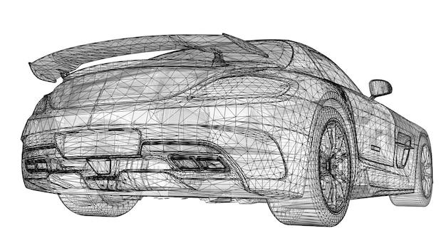 Модель спортивного премиального купе. растровая иллюстрация в виде черной многоугольной треугольной сетки на белом фоне. 3d-рендеринг.
