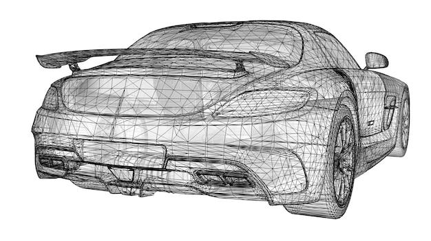 이 모델은 프리미엄 쿠페를 자랑합니다. 흰색 배경에 검정 다각형 삼각형 격자 형태의 래스터 그림. 3d 렌더링.