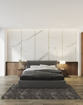 Современный дизайн интерьера спальни и текстура белой мраморной стены. 3d рендеринг
