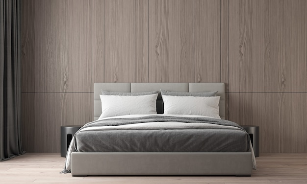 Современный уютный дизайн интерьера красивой спальни и деревянной текстуры стены