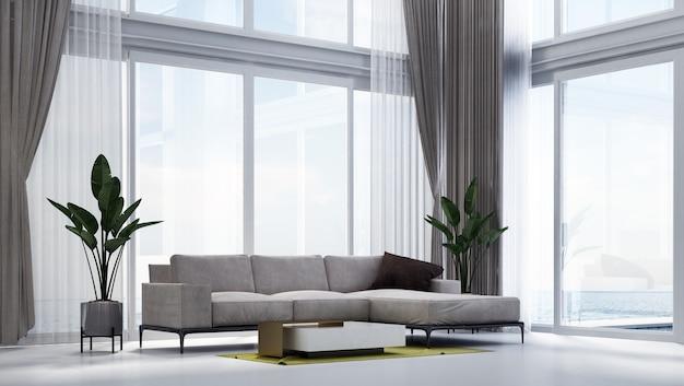 リビングルームと海の景色のモダンで居心地の良いインテリアデザイン