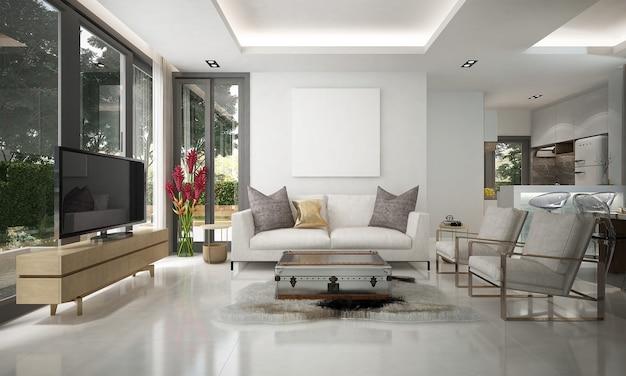 라운지와 거실과 흰색 벽의 현대적인 아늑한 인테리어 디자인