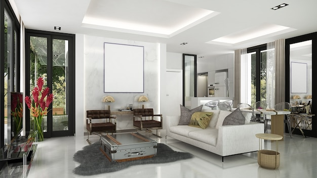モダンで居心地の良いリビングルームとダイニングエリアのインテリアデザインと壁のパターン