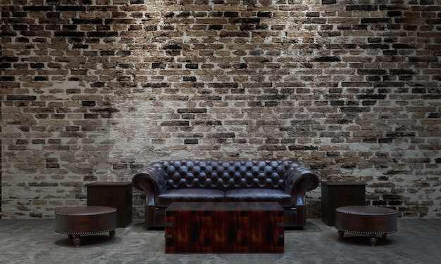 Современный уютный лофт дизайн интерьера гостиной и гостиной и кирпичной стены