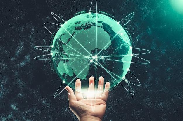 現代の創造的なコミュニケーションとインターネットネットワークはスマートシティで接続します