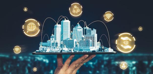 현대 창조적 인 커뮤니케이션과 인터넷 네트워크가 스마트 시티에서 연결됩니다.