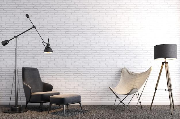 白いレンガの壁の前にあるモダンな家具。デザインのコンセプト。