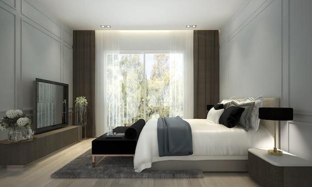 침실의 현대적인 고급 인테리어 디자인