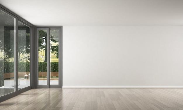 빈 라운지와 거실과 흰 벽의 현대적인 고급 인테리어 디자인
