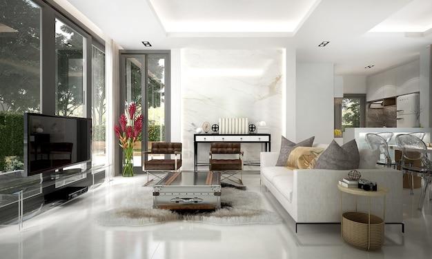 거실과 흰 벽의 현대적인 고급 인테리어 디자인
