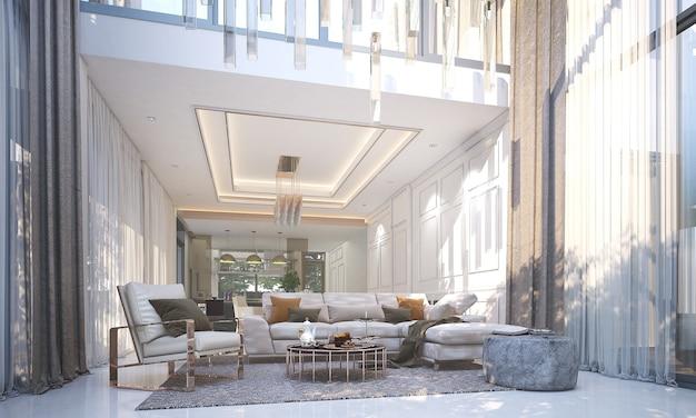 라운지와 거실과 흰 벽의 현대적인 고급 인테리어 디자인