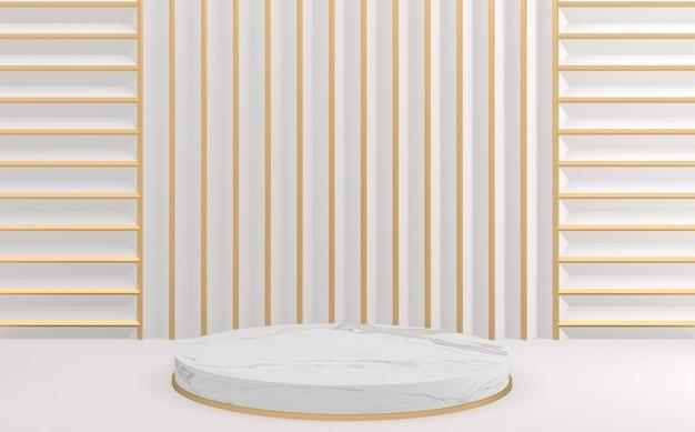 Современный белый и золотой фон и белый круг дизайн подиума. 3d визуализация