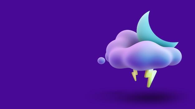 夜空の雲の中の月。 3dレンダリング。
