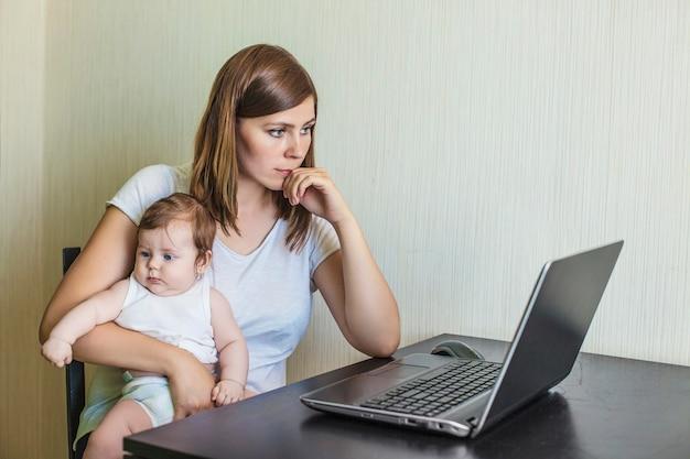 自宅のラップトップの後ろで仕事で手に子供を持つ女性の母親