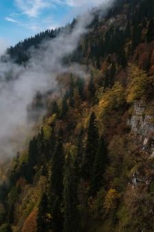 다채로운 숲과 높은 봉우리 코카서스 산맥이 있는 산가 풍경. 비수기, 러시아, 소치의 rosa khutor 스키 리조트. 산구름 춤
