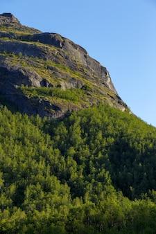 日没時に太陽に照らされた山の斜面。