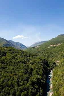 다양한 나무와 다른 식물로 덮인 산들. 몬테네그로