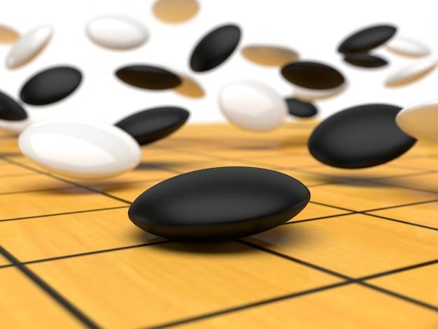 動く石がボードに落ちる碁盤3dレンダリング