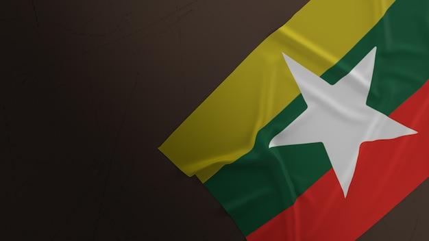 Флаг мьянмы на грязном полу 3d-рендеринга.