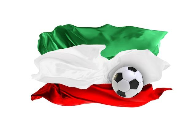 이란의 국기. 천으로 만든 깃발. 축구와 축구 개념입니다. 팬 개념입니다. 패브릭으로 축구공입니다. 흰색 배경에 고립. 비행 플래그입니다.
