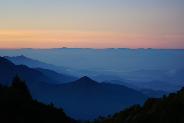霧のある国立公園の山の景色の風景