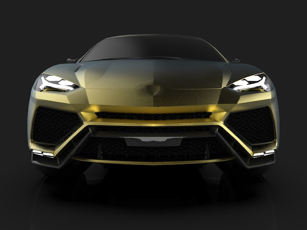 반사 바닥이 있는 검은색 스튜디오의 최신 스포츠 4륜 구동 골드 프리미엄 크로스오버. 3d 렌더링.
