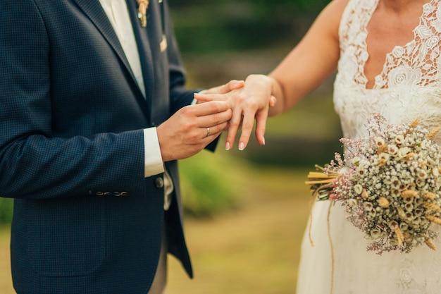 新婚夫婦は結婚式で指輪を交換する