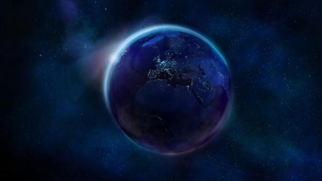 Ночная половина земли из космоса с изображением африки, европы и азии